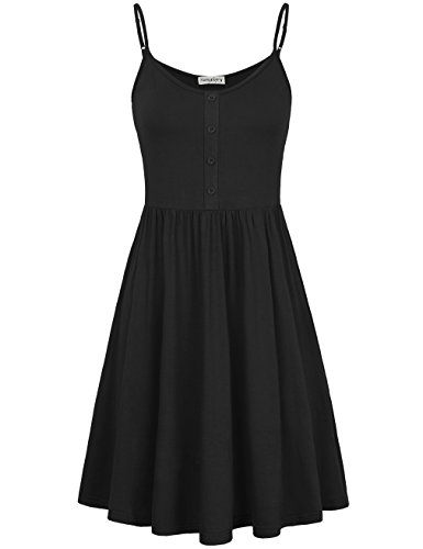 Button Party Dress In Black (SUNGLORY Mid Dress,Women's Mini Strap Nightwear Long Cami Slip Dress Deep Blue S)