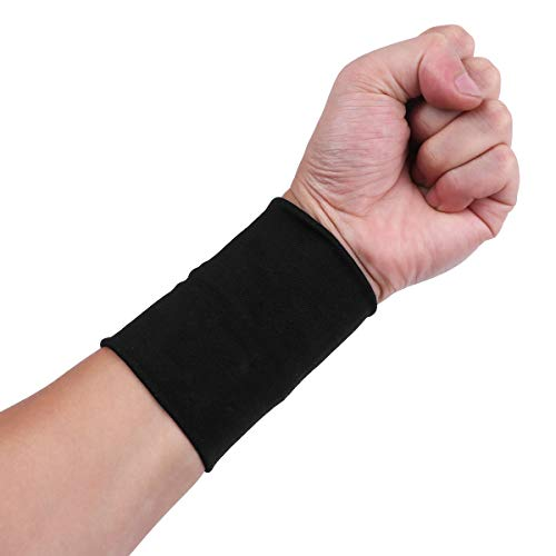 YiZYiF 1 Pair Forearm Tattoo Cover Up Wrist Brace Compression Wrist Sleeves Band Concealer Support for Arthritis Carpal Tunnel Muscle Joint Pain Relief Black S ()