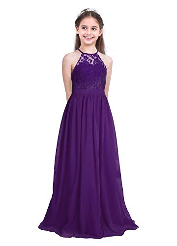 iEFiEL Girls Halter Lace Chiffon Flower Wedding Bridesmaid Dress Junior Ball Gown Formal Party Pageant Maxi Dress Deep Purple 14