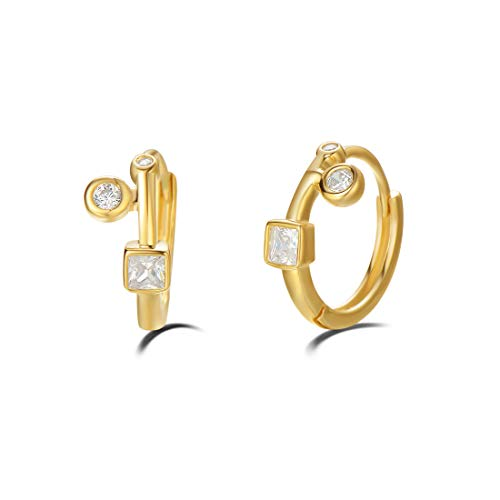 (Carleen Yellow Gold Plated 925 Sterling Silver White Cubic Zirconia CZ Huggie Hoop Earrings For Women Girls, 12mm)
