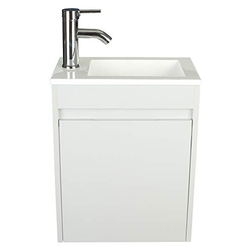 "eclife Bathroom Vanity W/Sink Combo, 16"" for Small Space MDF Paint Modern Design Grey Wall Mounted Cabinet Set, White Resin Basin Sink Top, Chrome Faucet W/Flexible U Shape Drain ()"