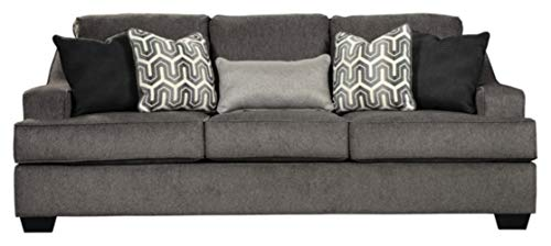 (Ashley Furniture Signature Design - Gilmer Chenille Upholstered Sofa w/Accent Pillows - Contemporary - Gunmetal)