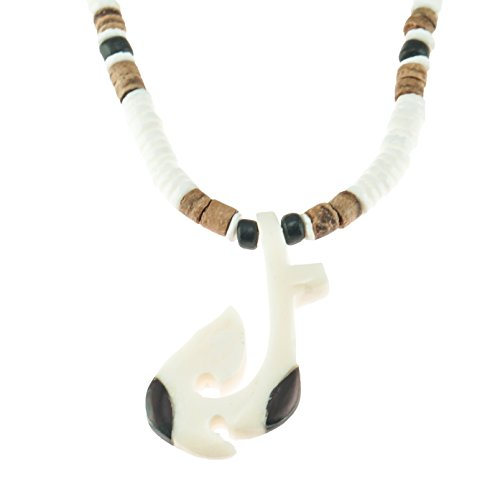 Hand Carved Hawaiian Tribal Bone and Wood Fish Hook Pendant on Puka Clam Shell Beaded Necklace with Tiger and Black Coconut Wood Beads -