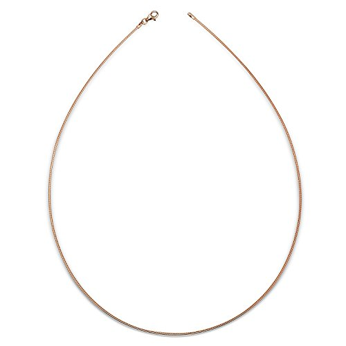 JewelryWeb Italian Sterling Silver 2mm Tailored Round Omega Wire Necklace (16-20'') (3-colors) (16-Inch-rose-gold-flashed-silver) by JewelryWeb