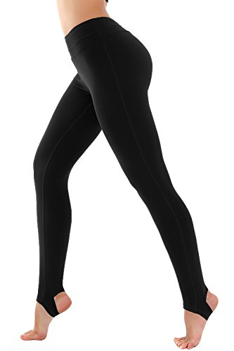 Deriving heliconia Women's High Waist Stirrup Yoga Running Gym Pants Leggings (Medium, Black)