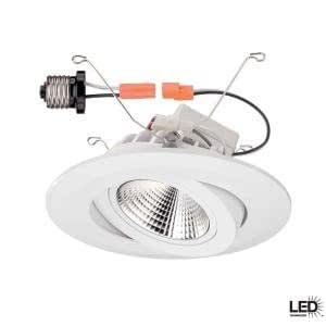 Commercial Electric 6 In Recessed White Gimbal Led Trim