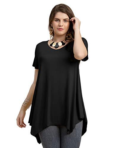 (LARACE Women Casual T Shirt V-Neck Tunic Tops for Leggings(L, Black))