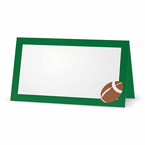 Football on Green Place Cards - Tent Style - 10 Pack - White Blank Front Solid Color Border - Placement Table Name Seating Stationery Party Supplies - Occasion Dinner Event