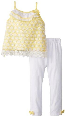 - Mud Pie Little Girls' Crochet Tunic and Legging Set, Yellow, 2T
