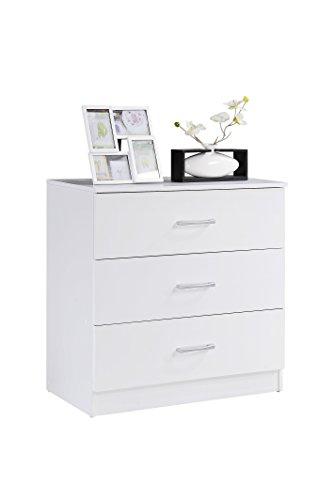 Hodedah HI3DR 3 White Chest of Drawers,