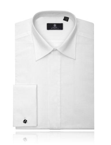 Alexander Dobell Men's Laydown Collar Plain Front Tuxedo Shirt