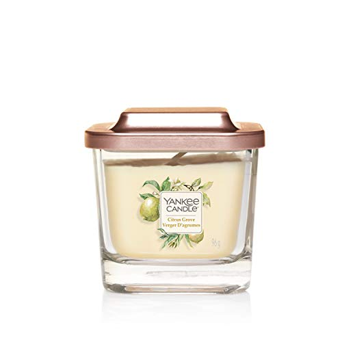 Yankee Candle Elevation Collection with Platform Lid Small 1-Wick Square Candle, Citrus Grove