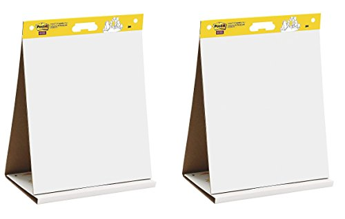 Post-it Super Sticky Tabletop Easel Pad, 20 x 23 inches, 20 Sheets/Pad, 1 Pad (563 DE), Portable White Premium Self Stick Flip Chart Paper, Dry Erase Panel, Built-in Easel Stand (Pack of 2)
