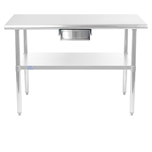 AmGood Stainless Steel Table Drawer - Metal Drawer For Prep Work Table, Heavy Duty, NSF Certified (20'' x 15'' x 5'') by AmGood