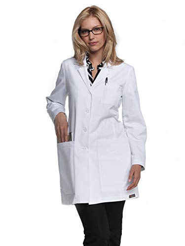 ICU by Barco Women's Junior Fit 34 Inch 5 Pocket Princess Seam Lab Coat, White, X-Large