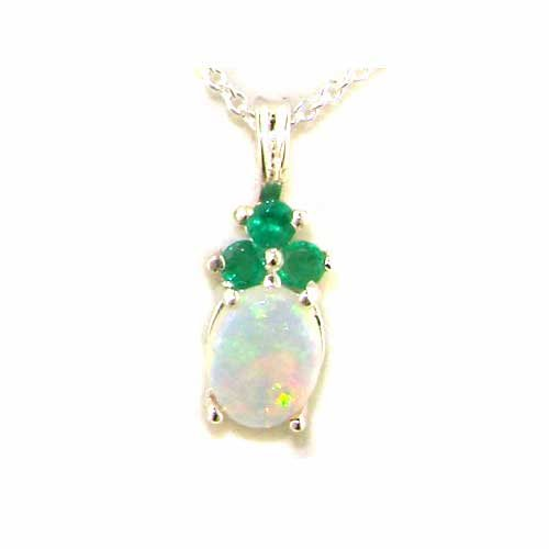 Ladies Solid 925 Sterling Silver Natural Opal And Emerald Contemporary Pendant Necklace
