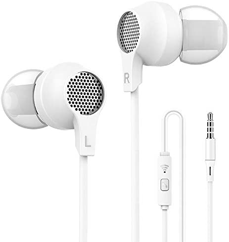 Super me in-Ear Headphones Bass EarbudsMicrophone and Call Controller CompatibleiPhone 안드로이드 and All Device3.5mm Jack - Sleep Headset 6 Pairs Earpad S/M/L Bright White