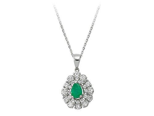Pendentif Emeraude et Diamants-Femme- or Blanc 204P0084