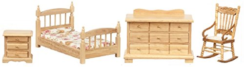 Dollhouse Miniature 4 Piece Oak Single Bed Bedroom Set for 1 Inch Scale 1:12 Doll ()