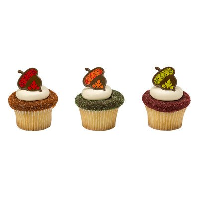 24pack Harvest Acorn Cupcake / Desert / Food Decoration Topper Rings with Favor Stickers & Sparkle Flakes