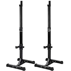 YAHEETECH 2PCS Adjustable 44-70 Inch Squat Rack Portable Utility Home Gyms Workout Weight Dumbbell Racks Stands for Exercise & Fitness Strength Training
