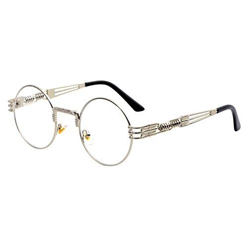 YANQIUYU Gothic John Lennon Metal Spring Frame Round Steampunk Sunglasses retro shade Available (Silver Frame/Clear Lens, - Lennon Shades John