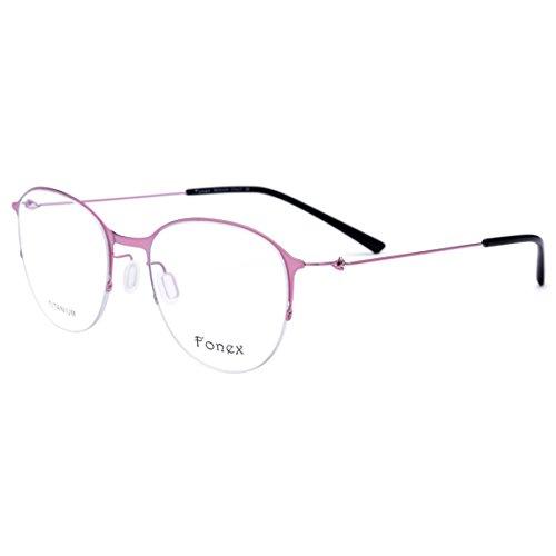 2185250324 FONEX Women Round Ultralight Titanium Alloy Optical Glasses Frame Eyewear  9862