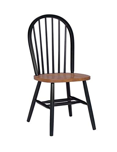 (Wood Dining Chair with Angled Legs - Dining Chair with Windsor Back - Black/Cherry)
