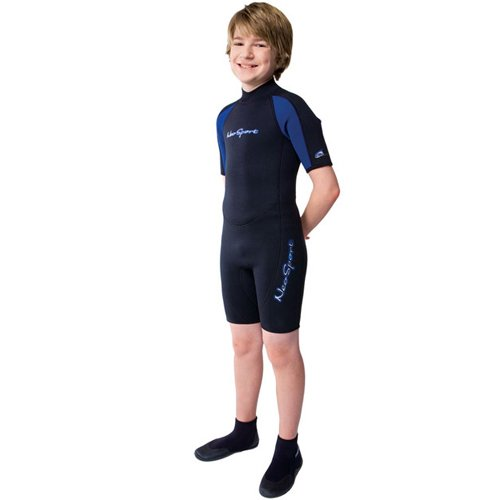 (NeoSport Wetsuits Junior Premium Neoprene 2.5mm Junior Shorty, Blue Trim, 10 - Diving, Snorkeling & Wakeboarding)