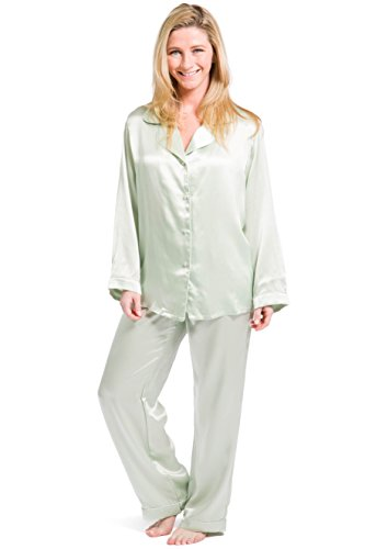 Fishers Finery Women's Classic Pure Mulberry Silk Pajama Set with Gift Box, Light Green, X-Large