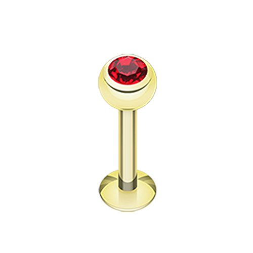 16G or 14G Gold Plated Red Gem Ball Steel Labret (Sold Individually) (14G, L: 5/16