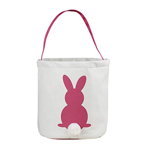 - HHmei Easter Egg Basket Holiday Rabbit Bunny Printed Canvas Gift Carry Eggs Candy Bag Bunny Bag (Hot Pink)