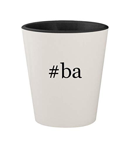 #ba - Ceramic Hashtag White Outer & Black Inner 1.5oz Shot Glass