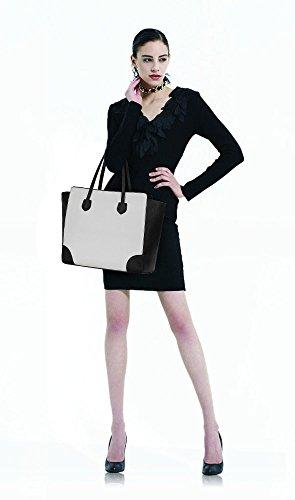 ANNA GRACE - Bolso de tela de piel sintética para mujer Design 1 - Black_White