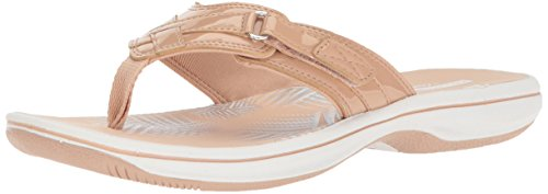 (Clarks Women's Breeze Sea Flip Flop, nude synthetic patent, 9 B(M) US)