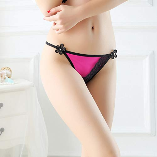 07791e1e0 Lethez Floral Underwear Sexy Lingerie Panties Thong Strappy Lace Briefs  Underwear G String Bikini (Free