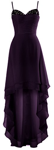 MACloth Dress Cocktail Gown Low Plum High Gorgeous Straps Formal Wedding Prom Party rRcqIrZg6x