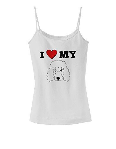 TooLoud I Heart My - Cute Poodle Dog - White Spaghetti Strap Tank - White - 2XL