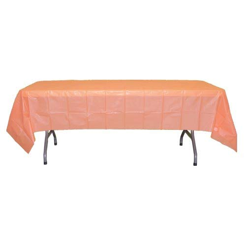 12-Pack Premium Plastic Tablecloth 54in. x 108in. Rectangle Table Cover - Peach