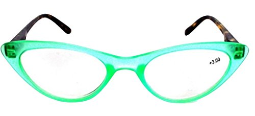 The Cat's Meow Colorful Ladies Cat Eye Reading Glasses, Full Frame Readers, 1950s Vintage Reading Glasses for Women + 1.75 Teal Green (Microfiber Cleaning Carrying Pouch Included)