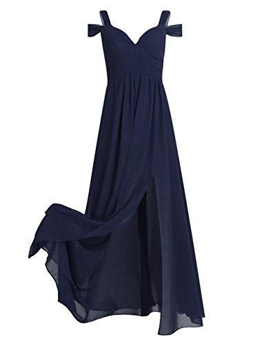 YiZYiF Women's Chiffon V Neck Flare Flowy Long Maxi Bridesmaid Formal Party Dress Navy Blue 14