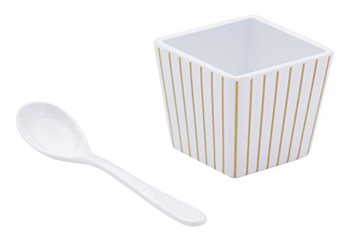 Baby Stripes Sugar (Sugar & Cloth SC26DCSSG08 8 Piece Spoon Set, Dessert Cups, White/Gold Pinstripe)