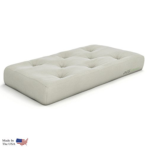 Plush, Comfortable 8-Inch Chair Futon Mattress, Ivory Twill - Made in USA ()