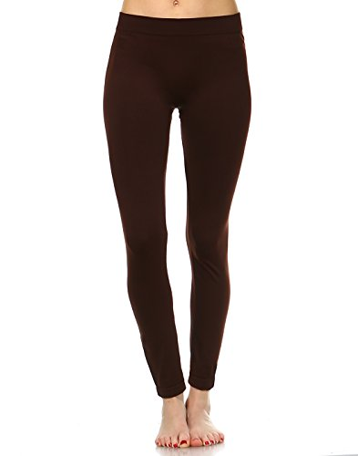 White Mark Women's Premium Full Length Leggings in Brown - Plus from White Mark