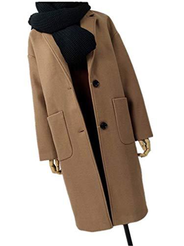 ❥ XIAOBAILONG Office Lady Solid Long Turn-Down Collar Wool Blend Single Breasted Women Coats Camel XXL Camel Wool Blazer 7