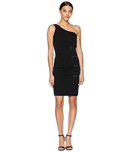 Nicole Miller Women's One Shoulder Dress with Zip Black 6