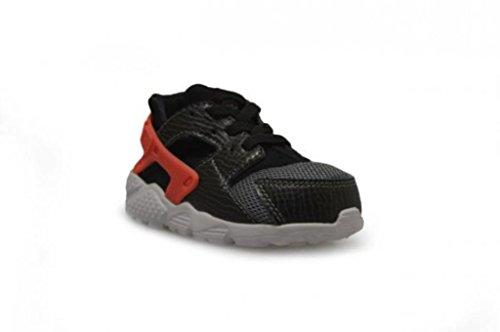 Nike Unisex Baby Huarache Run (TD) Lauflernschuhe, Schwarz Schwarz / Orange / Grau / Weiß (Schwarz / brght Hochrot-Cl Gry-Wht)