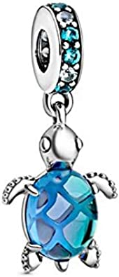 PJGS-UK Nouveau 100% 925 Verre de Murano en Argent Sterling de Tortue de  mer Dangle Pendentif Charms Pandora Bracelets Taille Initiale Bricolage ...