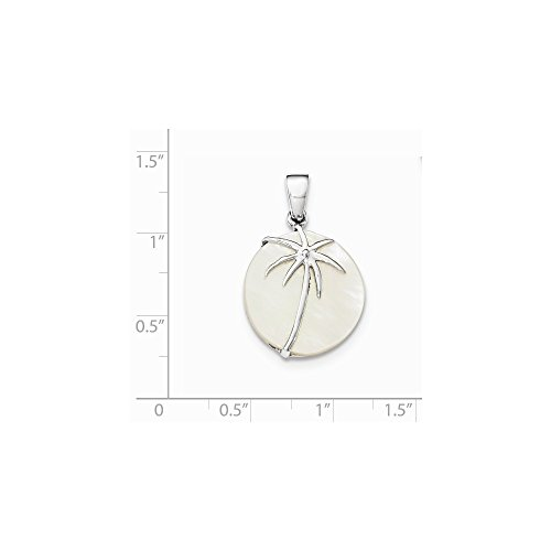 - Solid .925 Sterling Silver Rhodium-Plated Polished MOP Palm Tree Round Pendant