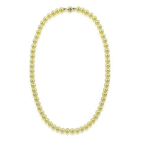 akwaya Femme 14K-Collier Femme-Perle-Perle 45,7cm et boucle d'oreille, AAA